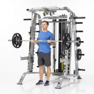 athletic man doing heavy barbell curls