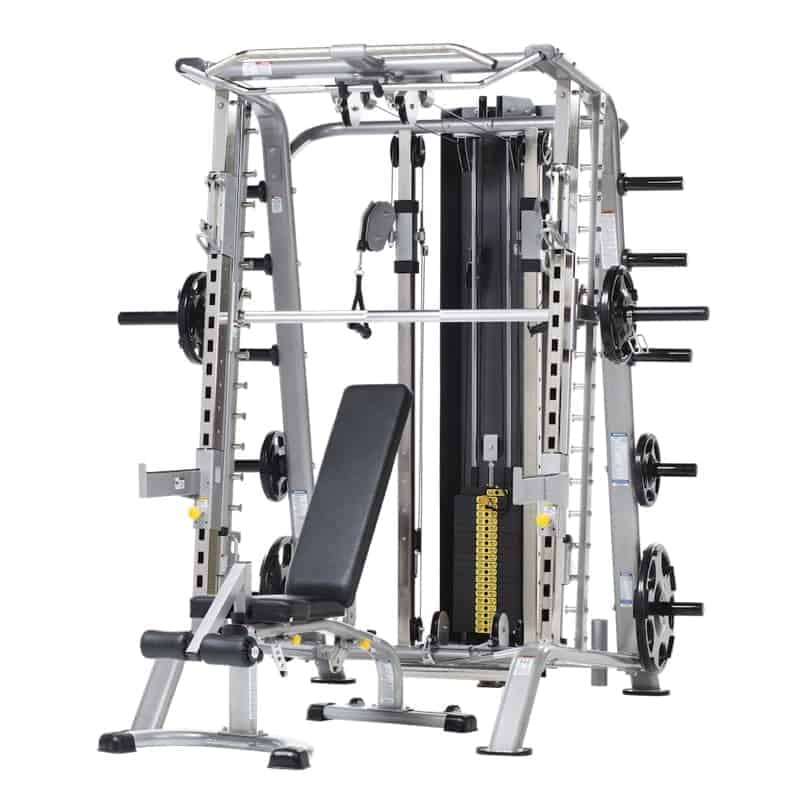 full body strength training system with weights and a bench