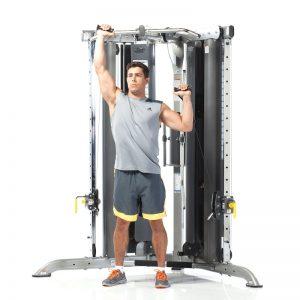 man doing alternating shoulder presses