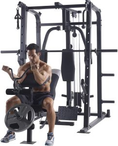 man doing seated bicep curls