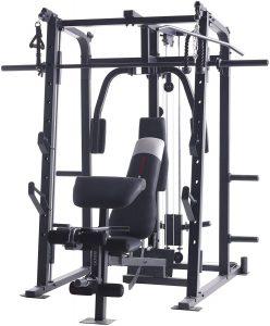 weight training machine with bench