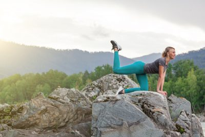 woman working out in nature