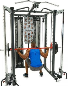 muscular man doing back squats with a barbell