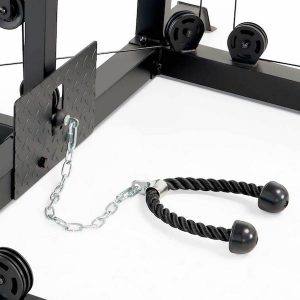 a tricep rope attached to a chain link