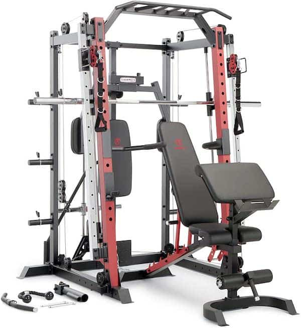 front view of a weight lifting machine