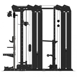 side view showing the dual 100kg weight stacks and rack