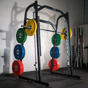 bumper plates on the storage pegs