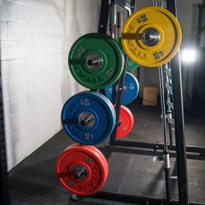 side view showing the weight plate storage